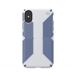 Speck case for iPhone XS/X PRESIDIO GRIP (MICROCHIP GREY/BALLPOINT BLUE)