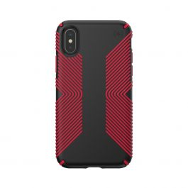 Калъф Speck за iPhione XS/X PRESIDIO GRIP (BLACK/DARK POPPY RED)