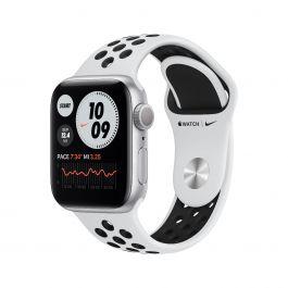 Apple Watch Nike S6, 40мм сребрист с черна Nike силиконова каишка