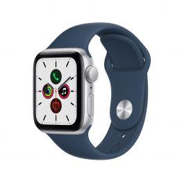 Apple Watch SE, 40мм Silver със синя силиконова каишка