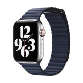 Apple Watch 44mm Band: Diver Blue Leather Loop - Medium