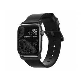 Черна кожена каишка от Nomad за Apple Watch 44/42 mm