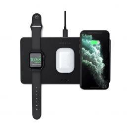Черна безжична зарядна станция от Satechi за iPhone, Apple Watch и AirPods