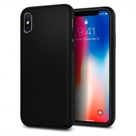 Черен калъф за iPhone X от Spigen - Liquid Air