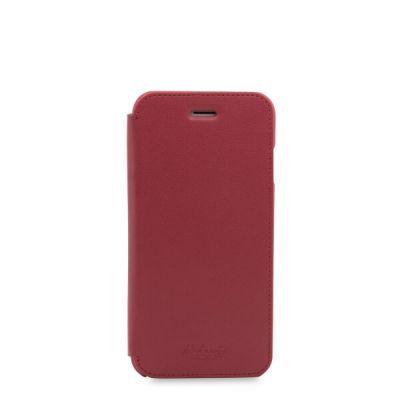 Червен кейс с капаче Leather Folio от Knomo за смартфон Apple iPhone 7