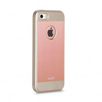 Розово-златист защитен кейс Moshi iGlaze Armour за iPhone SE с отвор за логото