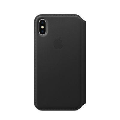 Черен кожен калъф тип портфейл на Apple за iPhone X - Black