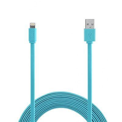 Син плосък USB кабел с Lightning накрайник от Aiino - 1.2m