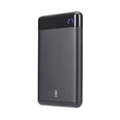 Черна преносима батерия на Aiino с капацитет 10000 mAh и LED дисплей