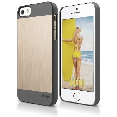 Elago - S5 OUTFIT MATRIX dual case for IPH5/5S - Dark Grey/Gold [ELS5OFMX-DGGD-RT]