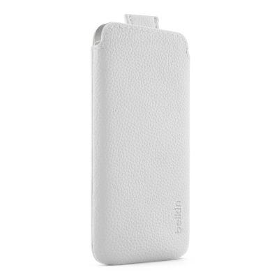 Бял луксозен кожен калъф Belkin за Apple iPhone 5
