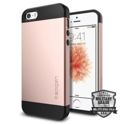 Розов защитен кейс Spigen Slim Armor за iPhone SE/5S/5