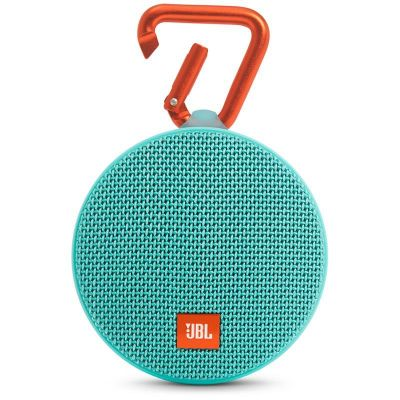 Зелена водоустойчива безжична колонка JBL Clip 2 с карабинер и микрофон
