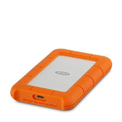 Ултрабърз външен хард диск в сребристо и оранжево Lacie Rugged с USB-C - 1TB