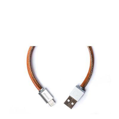 Кафяв ръчно изработен USB кабел PlusUs LifeStar с Lightning накрайник (1 м)