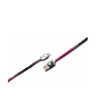 Розово-сив ръчно изработен USB кабел PlusUs LifeStar с Lightning накрайник (1 м)