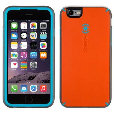 Оранжев защитен кейс Speck MightyShell със синя шарка и сиви кантове за iPhone 6