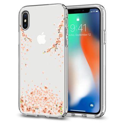 Прозрачен калъф за iPhone X - Spigen Liquid Crystal - blossom